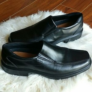 New Mens ECCO Black Leather Slip on Comfort shoes